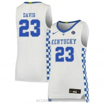 Anthony Davis Kentucky Wildcats #23 Authentic College Basketball Womens C76 Jersey White