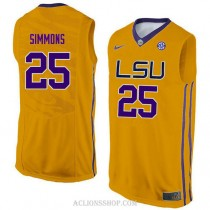 Ben Simmons Lsu Tigers #25 Authentic College Basketball Womens C76 Jersey Gold