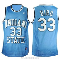 Larry Bird Indiana State Sycamores #33 Authentic College Basketball Youth C76 Jersey Blue