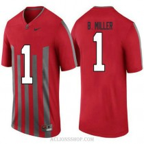 Mens Braxton Miller Ohio State Buckeyes #1 Throwback Authentic Red College Football C76 Jersey