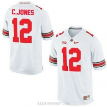 Mens Cardale Jones Ohio State Buckeyes #12 Authentic White College Football C76 Jersey