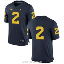Mens Charles Woodson Michigan Wolverines #2 Authentic Navy College Football C76 Jersey No Name