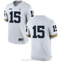 Mens Chase Winovich Michigan Wolverines #15 Authentic White College Football C76 Jersey No Name
