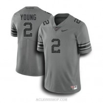 Mens Chase Young Ohio State Buckeyes #2 Game Dark Grey College Football C76 Jersey