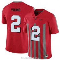 Mens Chase Young Ohio State Buckeyes #2 Throwback Authentic Red College Football C76 Jersey