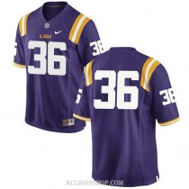 Mens Cole Tracy Lsu Tigers #36 Authentic Purple College Football C76 Jersey No Name