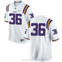 Mens Cole Tracy Lsu Tigers #36 Authentic White College Football C76 Jersey No Name