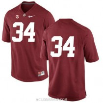 Mens Damien Harris Alabama Crimson Tide #34 Authentic Red College Football C76 Jersey No Name