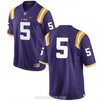 Mens Derrius Guice Lsu Tigers #5 Authentic Purple College Football C76 Jersey No Name