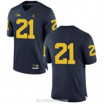Mens Desmond Howard Michigan Wolverines #21 Authentic Navy College Football C76 Jersey No Name