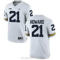 Mens Desmond Howard Michigan Wolverines #21 Authentic White College Football C76 Jersey