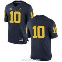 Mens Devin Bush Michigan Wolverines #10 Authentic Navy College Football C76 Jersey No Name