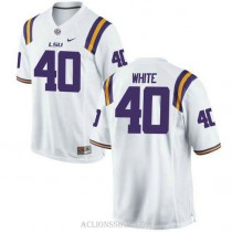 Mens Devin White Lsu Tigers #40 Game White College Football C76 Jersey