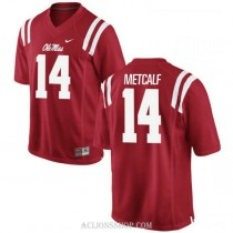 Mens Dk Metcalf Ole Miss Rebels #14 Authentic Red College Football C76 Jersey
