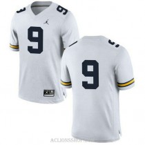 Mens Donovan Peoples Jones Michigan Wolverines #9 Authentic White College Football C76 Jersey No Name