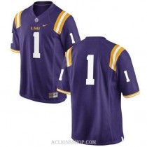 Mens Donte Jackson Lsu Tigers #1 Authentic Purple College Football C76 Jersey No Name