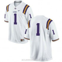 Mens Donte Jackson Lsu Tigers #1 Authentic White College Football C76 Jersey No Name
