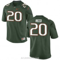 Mens Ed Reed Miami Hurricanes #20 Authentic Green College Football C76 Jersey
