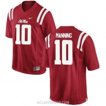 Mens Eli Manning Ole Miss Rebels #10 Authentic Red College Football C76 Jersey