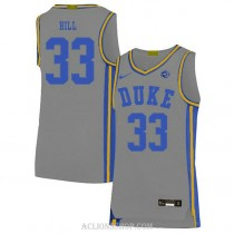 Mens Grant Hill Duke Blue Devils #33 Authentic Grey College Basketball C76 Jersey