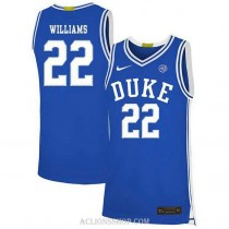 Mens Jay Williams Duke Blue Devils #22 Authentic Blue College Basketball C76 Jersey