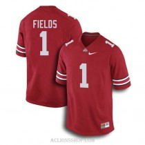 Mens Justin Fields Ohio State Buckeyes #1 Authentic Red College Football C76 Jersey