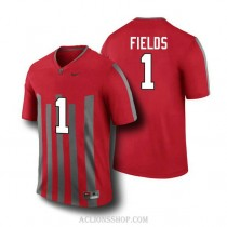Mens Justin Fields Ohio State Buckeyes #1 Throwback Authentic Red College Football C76 Jersey