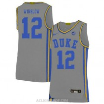 Mens Justise Winslow Duke Blue Devils #12 Authentic Grey College Basketball C76 Jersey