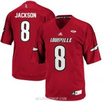 Mens Lamar Jackson Louisville Cardinals #8 Authentic Red College Football C76 Jersey