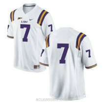Mens Leonard Fournette Lsu Tigers #7 Authentic White College Football C76 Jersey No Name