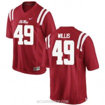 Mens Patrick Willis Ole Miss Rebels #49 Game Red College Football C76 Jersey