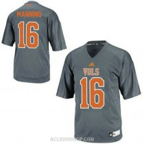Mens Peyton Manning Tennessee Volunteers #16 Adidas Authentic Grey College Football C76 Jersey