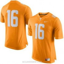 Mens Peyton Manning Tennessee Volunteers #16 Authentic Orange College Football C76 Jersey No Name