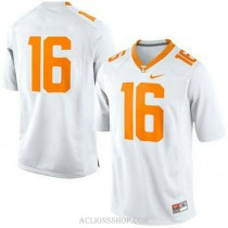 Mens Peyton Manning Tennessee Volunteers #16 Authentic White College Football C76 Jersey No Name