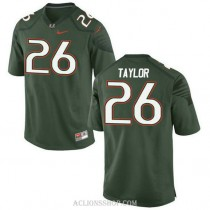 Mens Sean Taylor Miami Hurricanes #26 Authentic Green College Football C76 Jersey