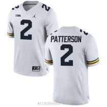 Mens Shea Patterson Michigan Wolverines #2 Authentic White College Football C76 Jersey