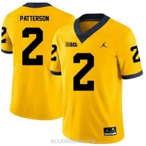 Mens Shea Patterson Michigan Wolverines #2 Authentic Yellow College Football C76 Jersey
