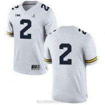 Mens Shea Patterson Michigan Wolverines #2 Game White College Football C76 Jersey No Name