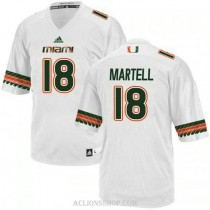 Mens Tate Martell Miami Hurricanes #18 Authentic White College Football C76 Jersey