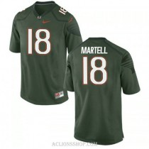 Mens Tate Martell Miami Hurricanes #18 Game Green College Football C76 Jersey
