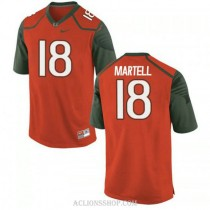 Mens Tate Martell Miami Hurricanes #18 Limited Orange Green College Football C76 Jersey