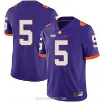 Mens Tee Higgins Clemson Tigers #5 Authentic Purple College Football C76 Jersey No Name