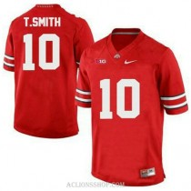 Mens Troy Smith Ohio State Buckeyes #10 Authentic Red College Football C76 Jersey