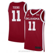 Trae Young Oklahoma Sooners #11 Authentic College Basketball Youth C76 Jersey Red