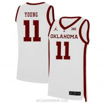 Trae Young Oklahoma Sooners #11 Authentic College Basketball Youth C76 Jersey White