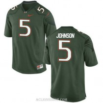 Womens Andre Johnson Miami Hurricanes #5 Authentic Green College Football C76 Jersey