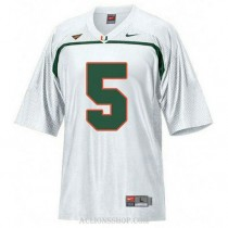 Womens Andre Johnson Miami Hurricanes #5 Limited White College Football C76 Jersey