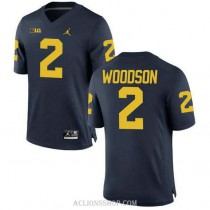 Womens Charles Woodson Michigan Wolverines #2 Authentic Navy College Football C76 Jersey