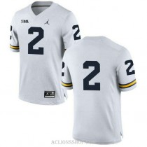 Womens Charles Woodson Michigan Wolverines #2 Authentic White College Football C76 Jersey No Name