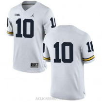 Womens Devin Bush Michigan Wolverines #10 Authentic White College Football C76 Jersey No Name
